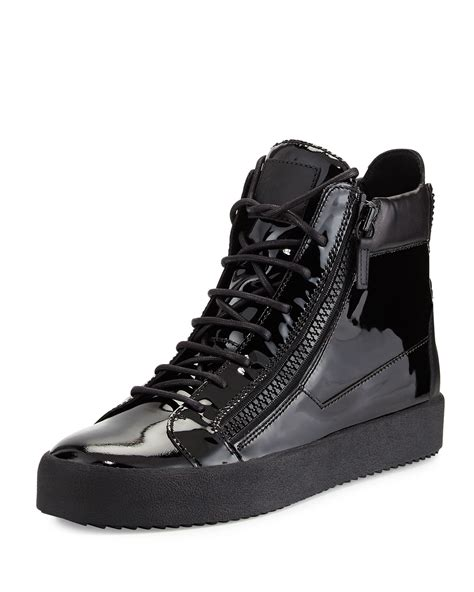 mens high top black sneakers giuseppe zanotti s patent leather high top sneaker in