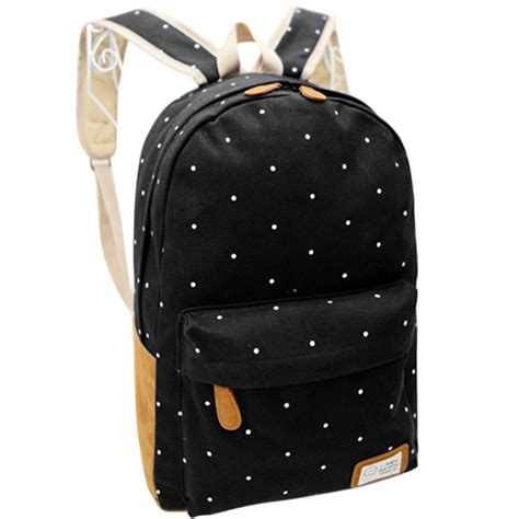 Womens Backpack Solene Black Intl canvas rucksack polka dot backpack black intl lazada