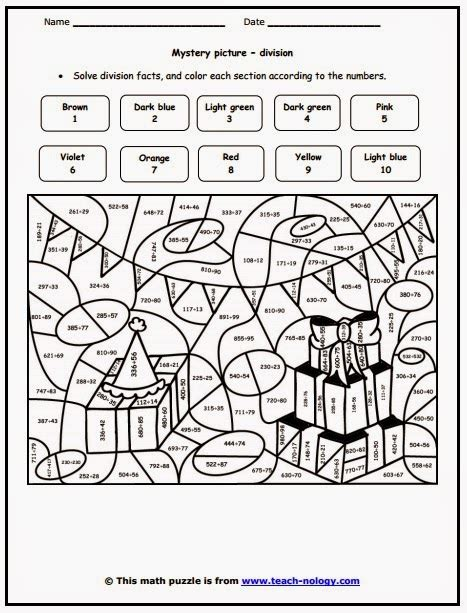 free colour by number division coloring pages