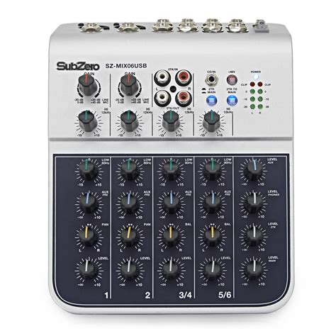 Mixer Mini subzero sz mix06usb 6 channel mini mixer with usb at
