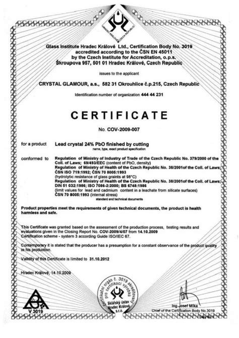 Glass Bowls And Vases Certificate Of Quality Bohemia Crystal