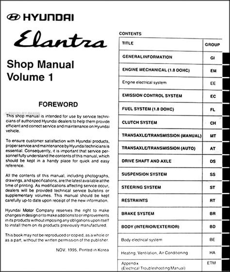 service and repair manuals 1992 hyundai elantra windshield wipe control 1996 hyundai elantra repair shop manual original 2 vol set