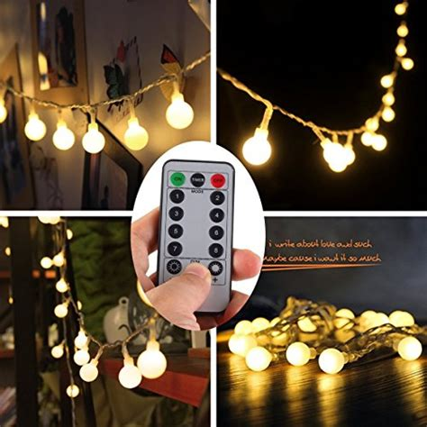 amazon battery fairy lights remote timer 16 feet 50 led outdoor globe string