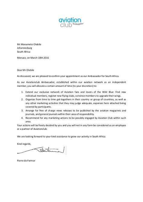 Employment Letter South Africa Letter Of Appointment Ambassador South Africa