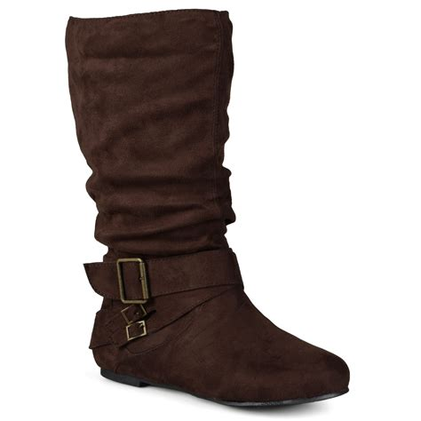 wide calf slouch boots journee collection womens wide calf buckle slouch mid calf