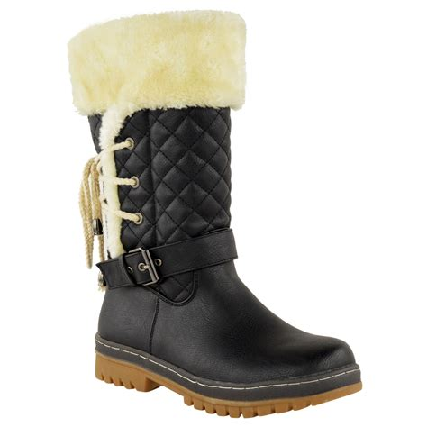 snow boots with fur womens flat calf knee high quilted fur lined winter