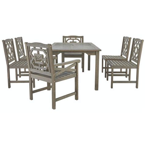 Wooden Patio Dining Sets Martha Stewart Living Blue Hill 7 All Weather Eucalyptus Wood Patio Dining Set 9433500270