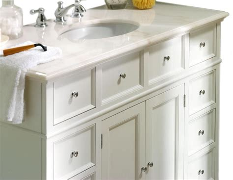 White Bathroom Vanities With Marble Tops by Hton Bay 44 Quot W Single Bath Vanity With White Marble Top