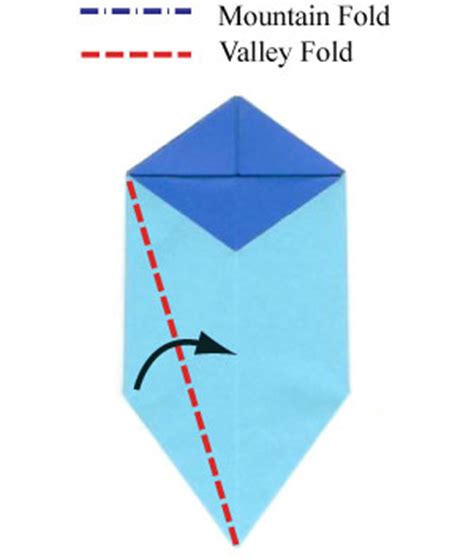 Origami Valley Fold - how to make an origami morning with five petals page 9