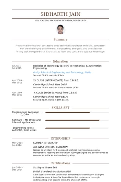 Internship Resume Format India by Summer Internship Resume Sles Visualcv Resume Sles