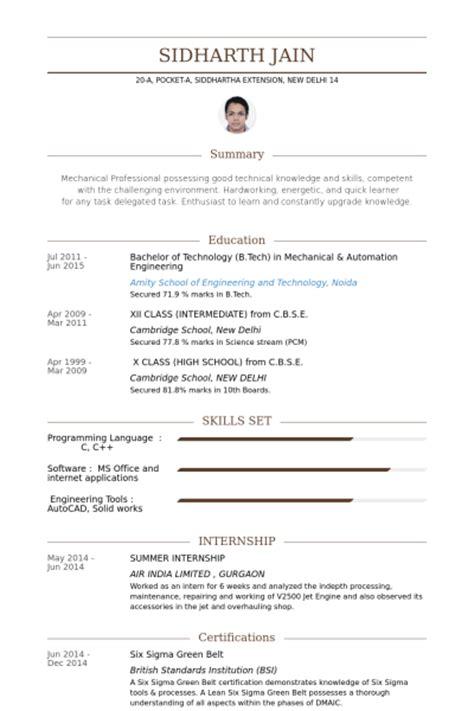 Sample Resume For Summer Internship
