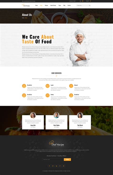 chef recipe food and recipe psd template by psdboss