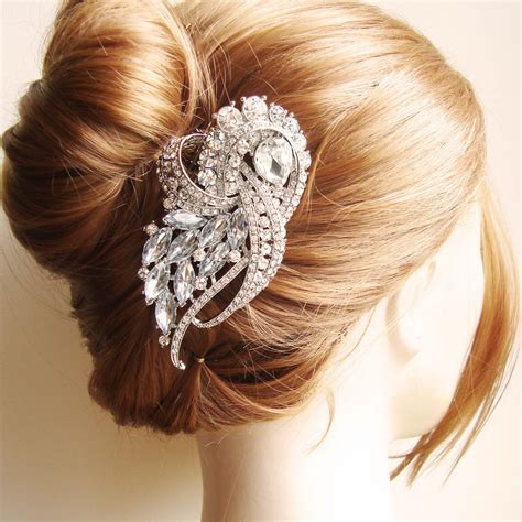 Vintage Bridal Hair Comb Etsy by Vintage Style Wedding Bridal Hair Comb Rhinestone By