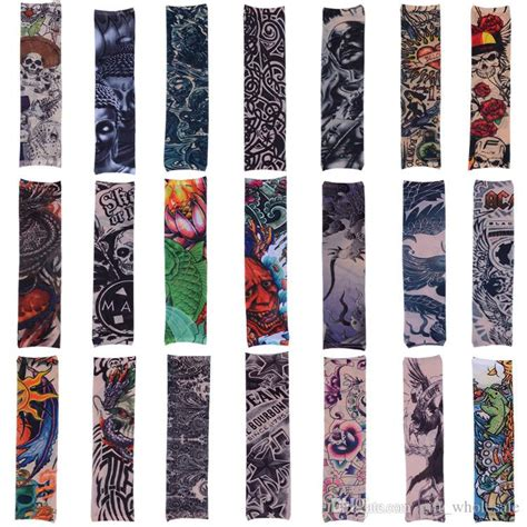 tattoo arm compression sleeve 2018 compression sleeve tattoo like print sleeve sports