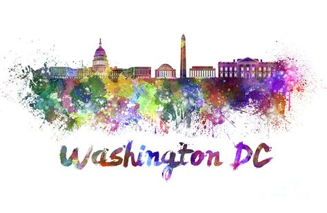 Duvet Cover Modern Washington Dc Skyline In Watercolor Painting By Pablo Romero