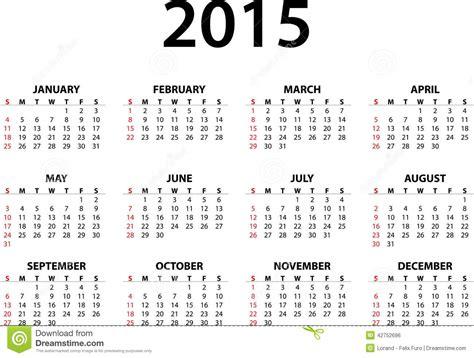 monatskalender f 252 r 2015 vektor abbildung bild 42752696