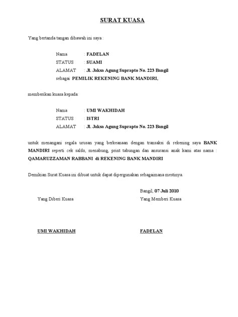 surat kuasa bank mandiri