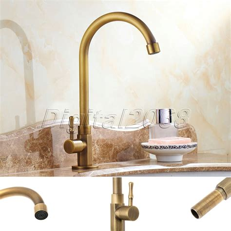 Vintage Kitchen Sink Faucets Brass Antique Luxury Bathroom Kitchen Sink Faucet Ceramic Valve Single Handle Swivel Spout