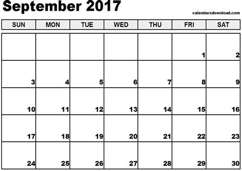 printable monthly calendar september 2017 september 2017 calendar