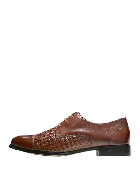 cole haan oxford shoes cole haan jagger woven leather oxford shoes in brown lyst