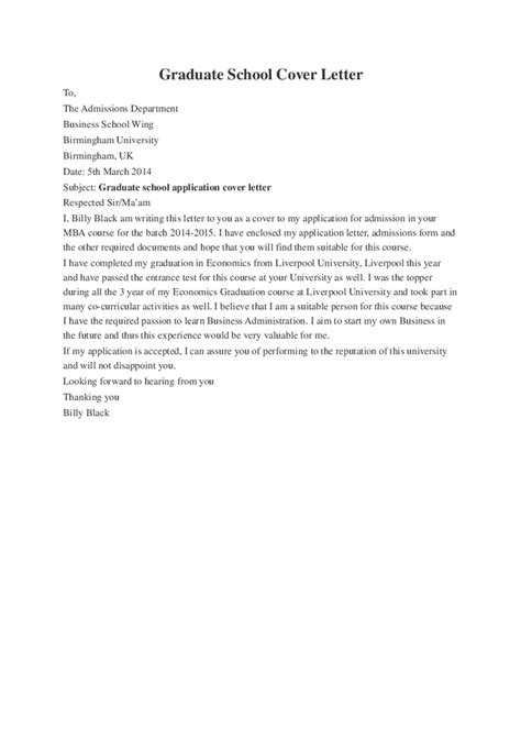 Cover Letter For Grad School by Graduate School Cover Letter Hashdoc