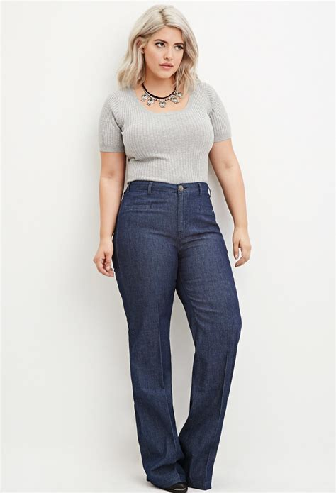Forever21 Vintage Wide Leg lyst forever 21 plus size wide leg denim in blue