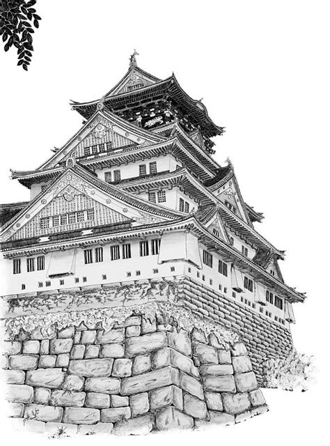 osaka castle coloring page osaka castle drawing by scott moore