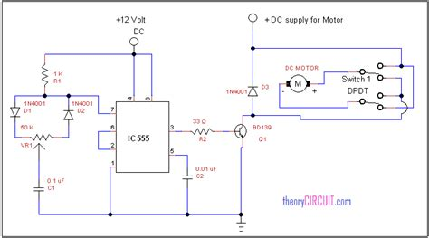 forward dc motor diagram with timer ic