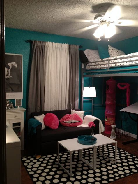 Pink And Teal Curtains Decorating Room Tween Room Bedroom Idea Loft Bed Black And White Teal Turquoise Pink