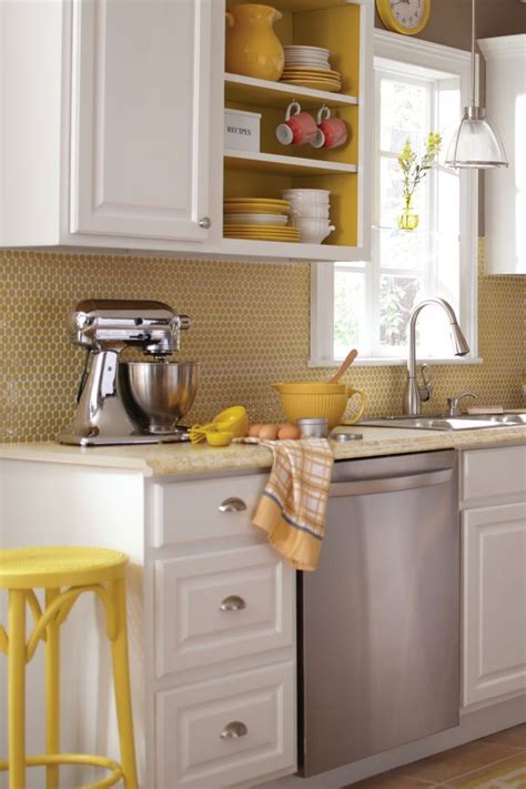 backsplash for yellow kitchen 28 creative penny tiles ideas for kitchens digsdigs