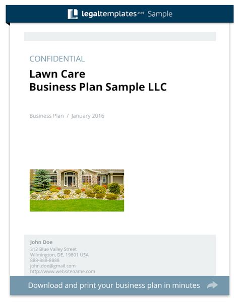 Lawn Care Business Plan Sle Legal Templates Lawn Care Business Plan Template Free
