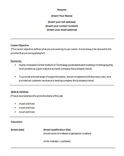 Entry Level Resume Template Word customer service resume template 8 free sles