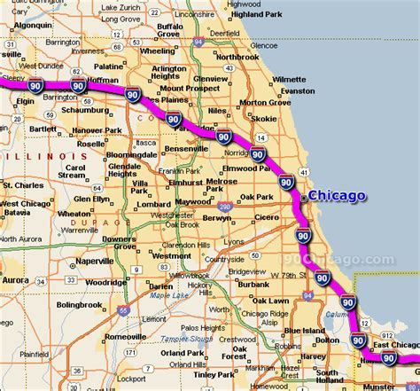 usa road map i 90 travelling tour to chicago