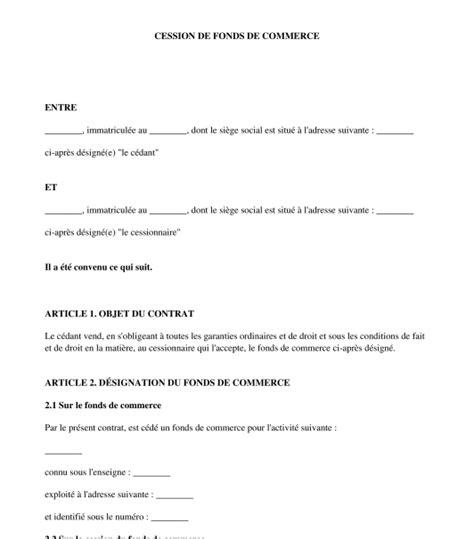 Lettre De Confidentialit Cession Entreprise contrat de cession de fonds de commerce exemple type