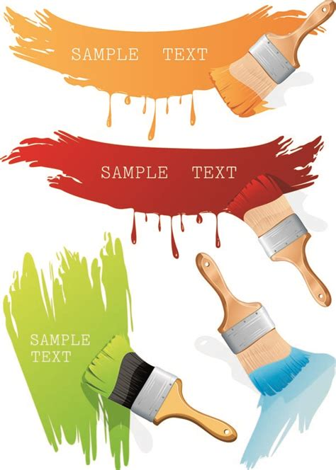 paint brush and color vector color paints brushes paint free vector 4vector