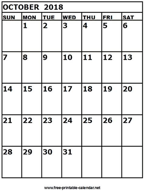printable calendar october 2018 free printable calendar october 2018