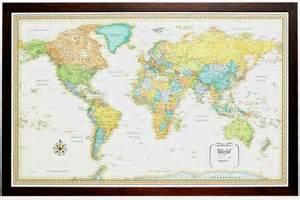framed world map rand classic