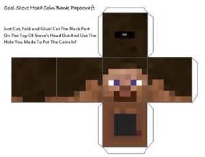 Minecraft Steve Papercraft - papercraft minecraft steve coin bank papercraft
