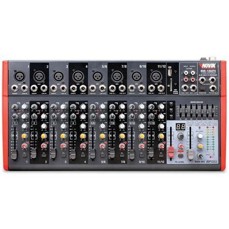 Mixer Nvk mesa de som 8 canais novik neo nvk 1202 fx 110v 101db