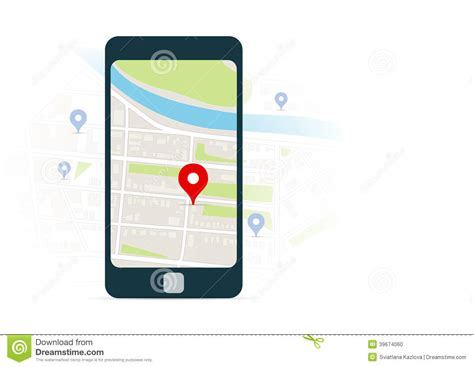 map mobile mobile navigation and map with pins stock vector image