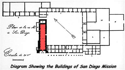mission san diego de alcala floor plan layout of san diego de alcala california missions resource center