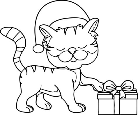 happy cat coloring page happy cat wearing christmas hat taking gift coloring page