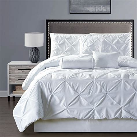 solid white comforter set 7 pieces needle stitching pinch pleat solid white