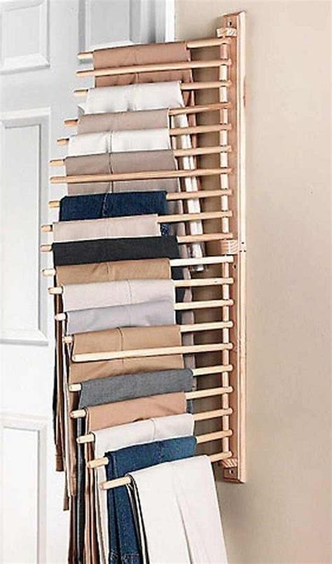 Pant Rack For Closet by Wooden Wall Mount Trouser Scalf Belt Or Tie Hanging