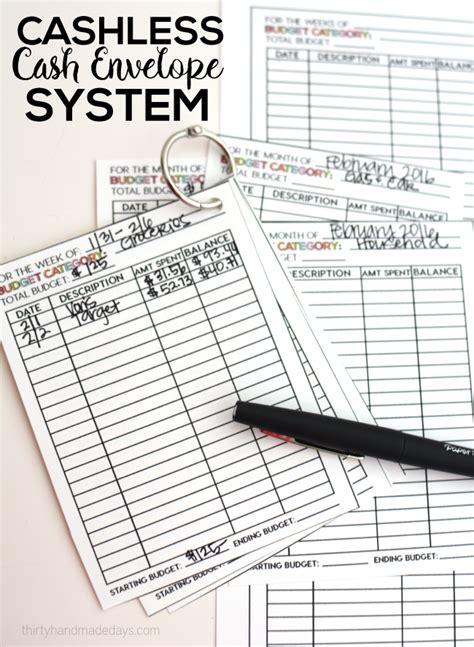 envelope budget system template cashless envelope system thirty handmade days