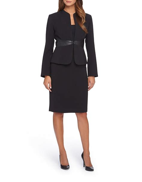 tahari by arthur s levine faux leather accented skirt