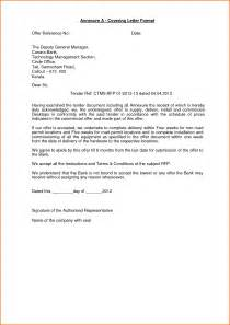 Annexure covering letter format offer reference no date the by