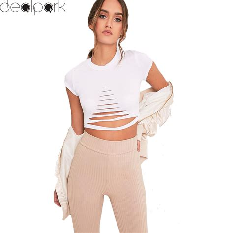 Hollow Top White Pink 2017 summer fashion ripped holes crop top hollow out t shirt sleeves cropped