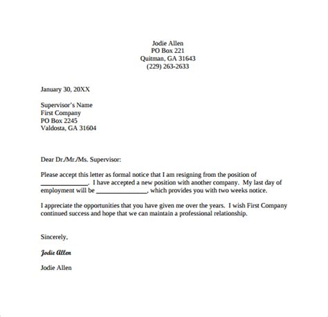 11 two weeks notice letter templates sle templates