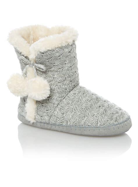 womens gray slippers womens grey cable knit slipper boots tu clothing